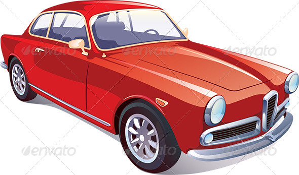 GraphicRiver Red Classic Retro Car 5487242