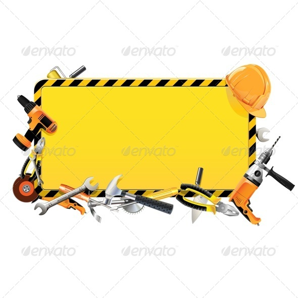 GraphicRiver Vector Construction Frame with Tools 5487328