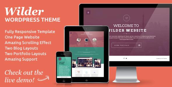 ThemeForest Wilder Flat One Page Responsive WordPress Theme 5487594