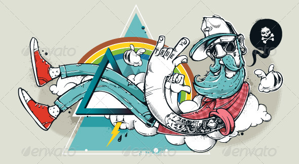 GraphicRiver Abstract graffiti hipster illustration 5487694