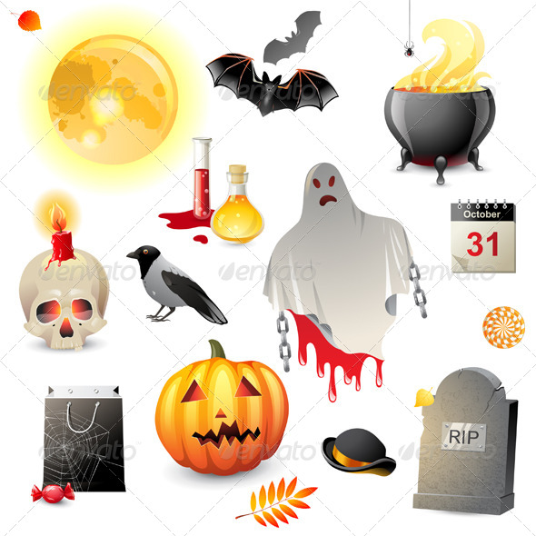 GraphicRiver Halloween Icons Set 5487706