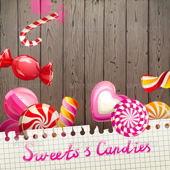 GraphicRiver Background with Sweets and Candies 5487741