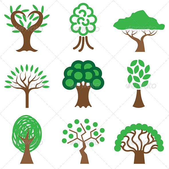 GraphicRiver Different Trees Icon Set 5488041