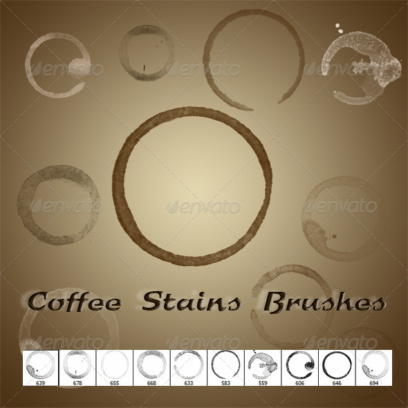 GraphicRiver Coffee Stains Brushes 5488492