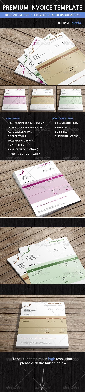 GraphicRiver Premium Invoice Template Estela PDF Forms 5488893