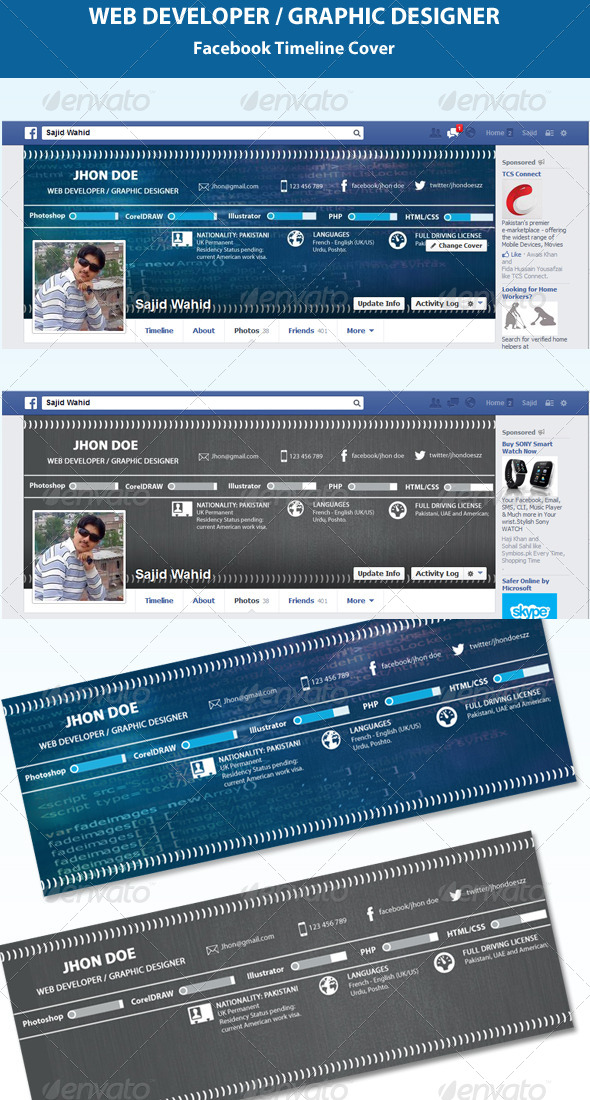 GraphicRiver Web Developer & Graphic Designer Timeline Cover 5489001