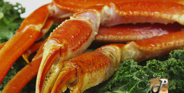 VideoHive Fresh Crab Legs With Lemons and Butter 5489045