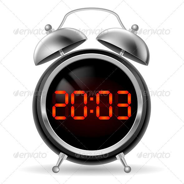 GraphicRiver Retro alarm clock with digital face 5489270