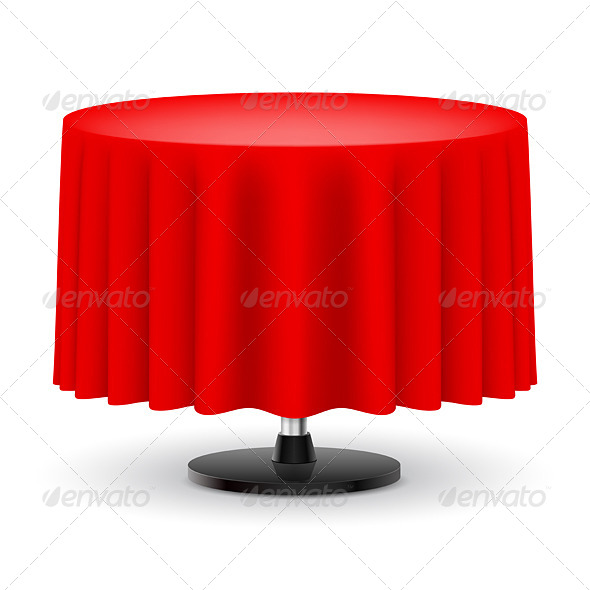 GraphicRiver Round table with red cloth 5489279