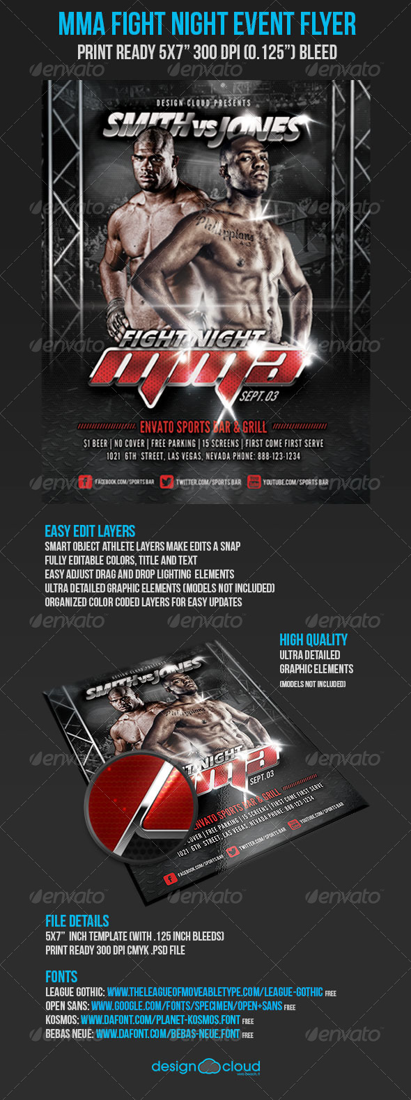 MMA Fight Night UFC Event Promo Flyer