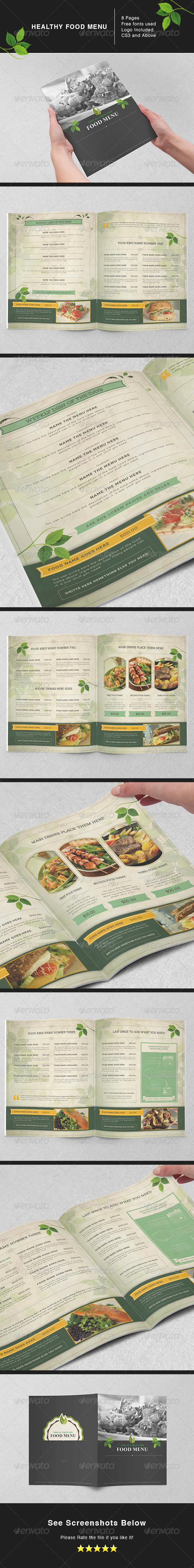 GraphicRiver Healthy Food Menu 5489711