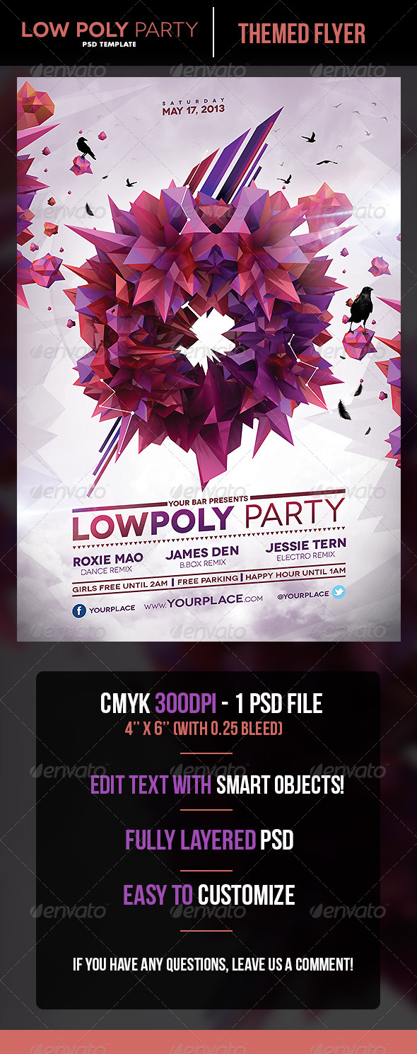 LowPoly Party Flyer Template - Flyers Print Templates