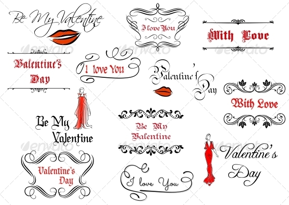 GraphicRiver Calligraphic Elements and Headlines for Valentines 5490235