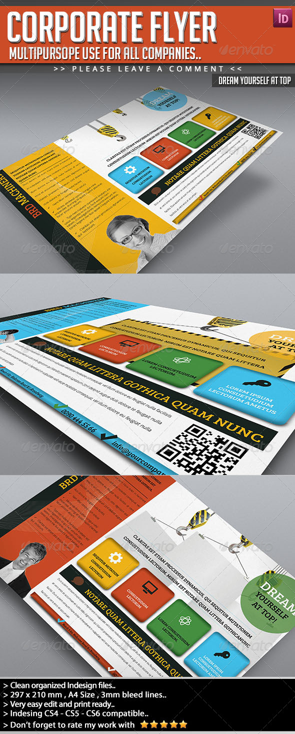 GraphicRiver Corporate Flyer Dream Yourself at Top 5490404