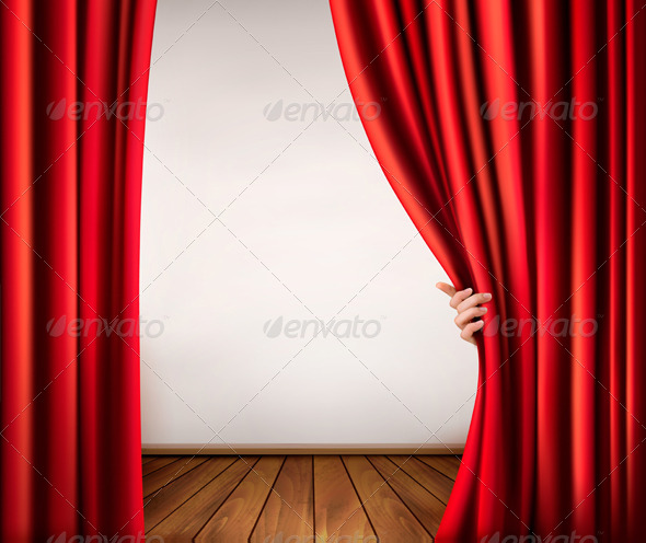 GraphicRiver Background with Red Velvet Curtain and Hand 5490509