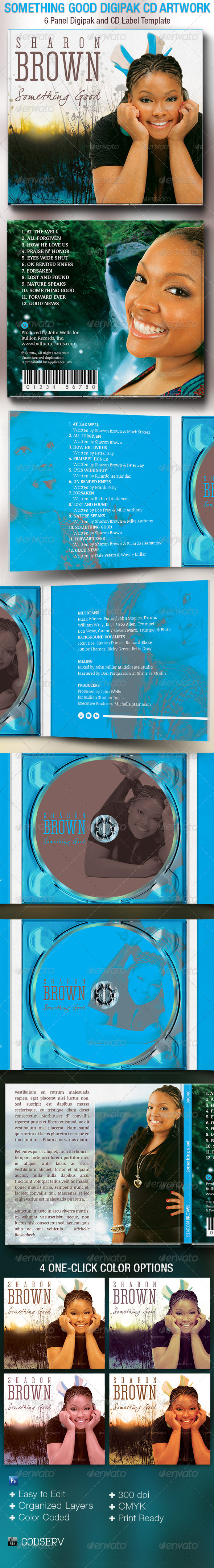 Something Good 6 Panel Digipak CD Artwork Template - CD & DVD Artwork Print Templates