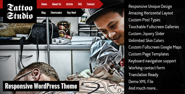 ThemeForest Tattoo Studio Responsive WordPress Theme 5490599