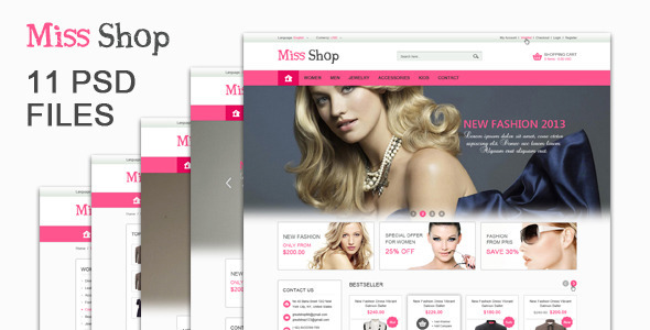 The Miss Shop PSD Template is designed for Online shop. The design is very elegant and modern, and also very easy to customize. Site 11 PSD files included! Over