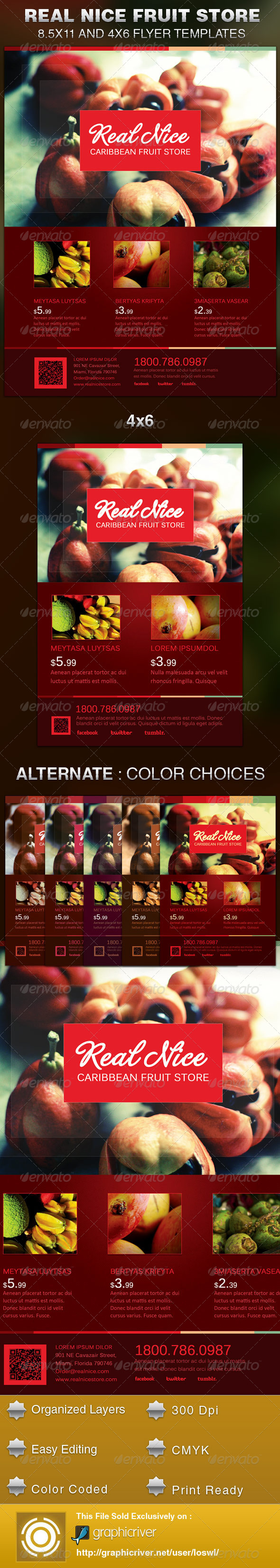 GraphicRiver Real Nice Caribbean Fruit Store Flyer Template 5491122