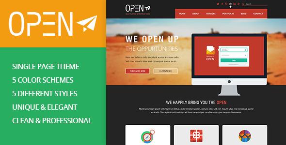 ThemeForest OPEN Single Page Multi-purpose PSD Theme 5457111
