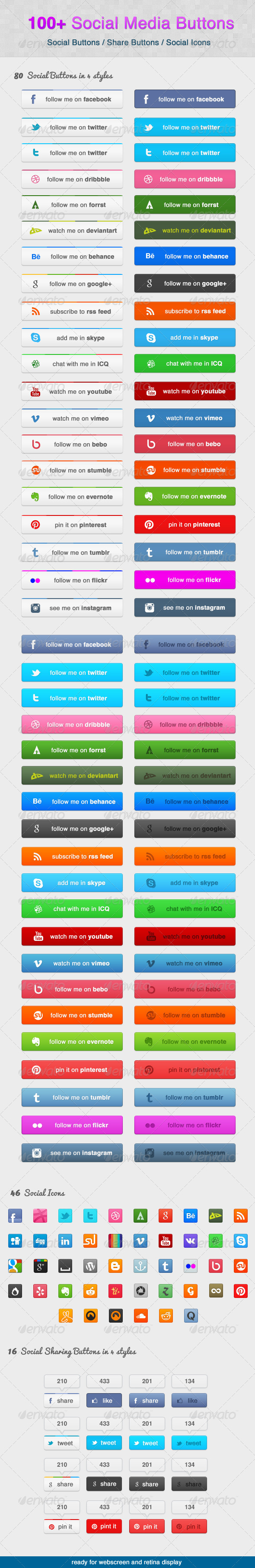 GraphicRiver 100& Social Media Buttons 5492899