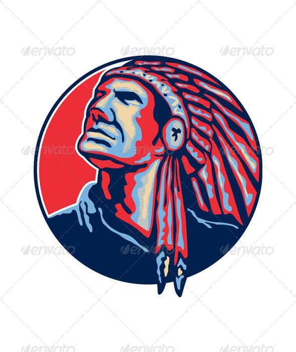 GraphicRiver Native American Indian Chief Retro 5493033