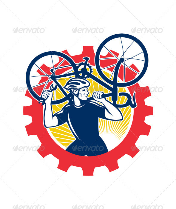 GraphicRiver Cyclist Bicycle Mechanic Carrying Bike 5493037