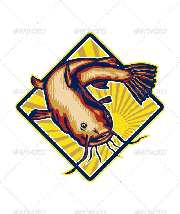 GraphicRiver Catfish Mud Cat Polliwog Jumping Retro 5493043