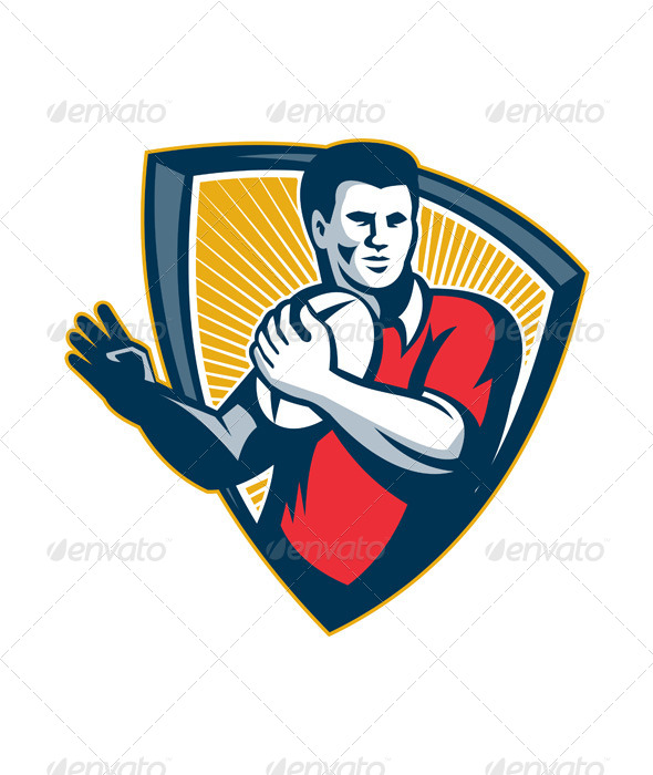 GraphicRiver Rugby Player Running Ball Retro Shield 5493066