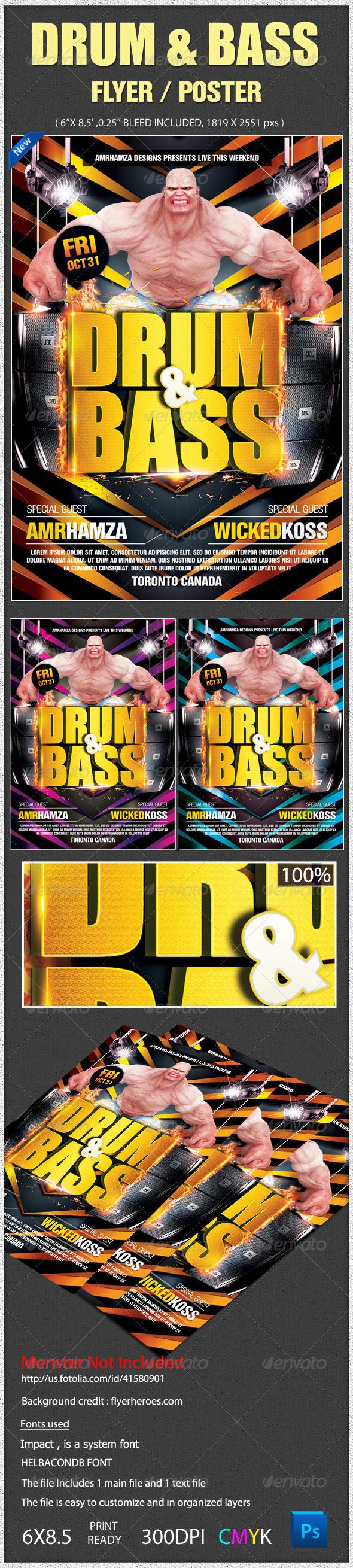Drum Bass Electro Beats Sound Flyer Poster