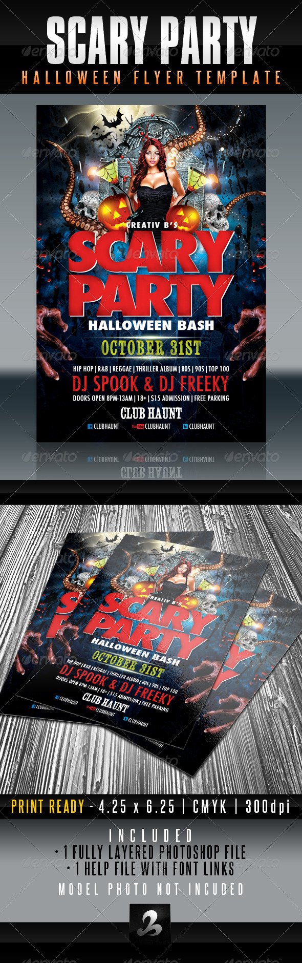 GraphicRiver Scary Party Halloween Flyer Template 5493639