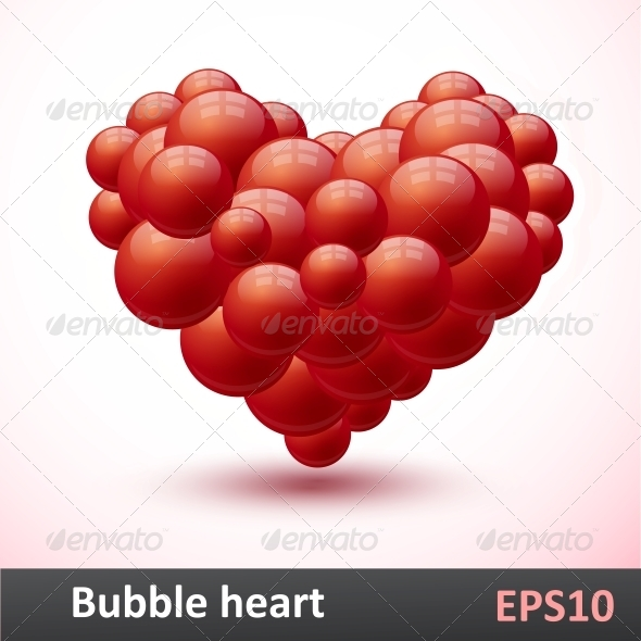 GraphicRiver Heart of Red Bubbles Bector Illustration 5493807