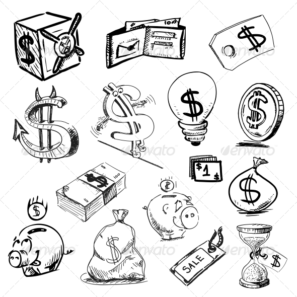 GraphicRiver Finance and Money Icons Collection 5493917