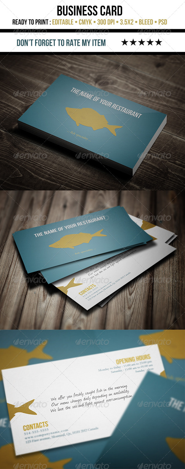 GraphicRiver Restaurant Business Card Fish 5435600