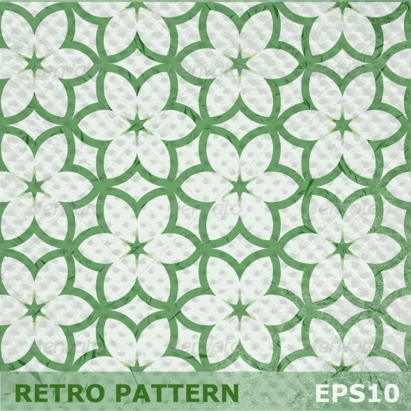 Green Flowers Seamless Pattern
