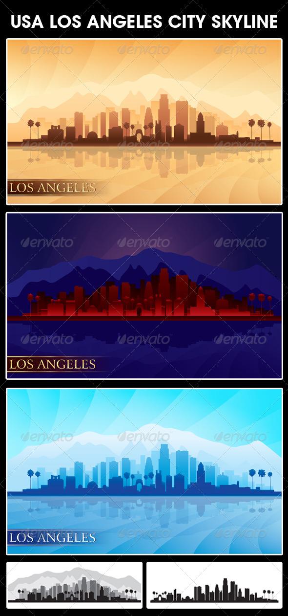 GraphicRiver Los Angeles USA City Skyline Silhouettes Set 5494211