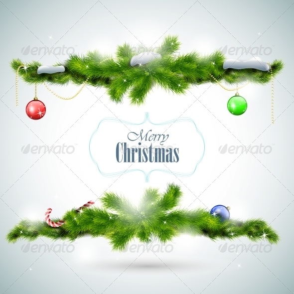 Christmas Card with Fir Branches and Balls