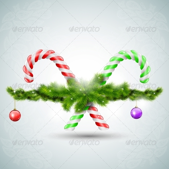 GraphicRiver Merry Christmas Candy with Fir Branches 5495258