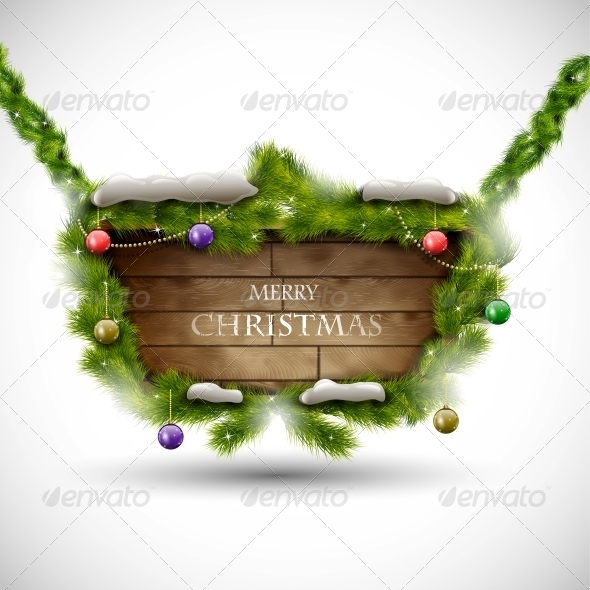 GraphicRiver Merry Christmas Wooden Board with Snow 5495312