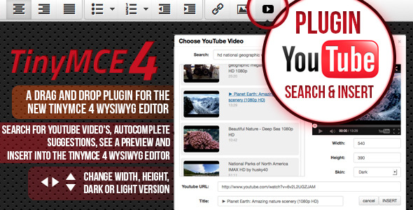 TinyMCE 4 plugin Youtube search and insert - CodeCanyon Item for Sale