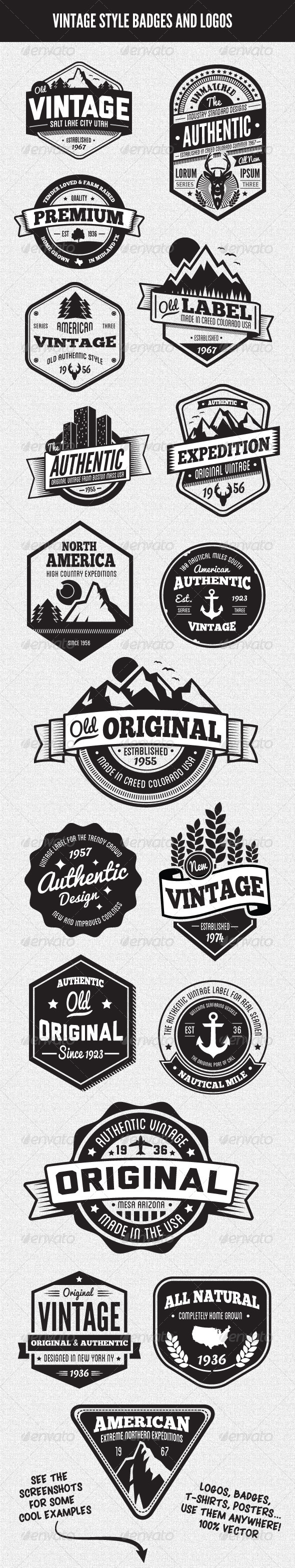 Vintage Style Badges and Logos Vol 3 - Badges & Stickers Web Elements