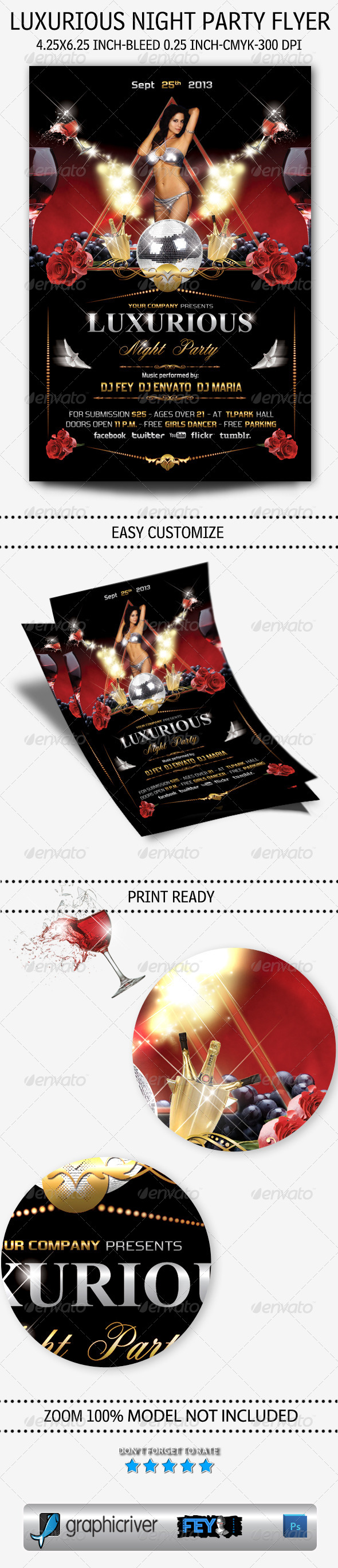 GraphicRiver Luxurious Night Party Flyer 5483436