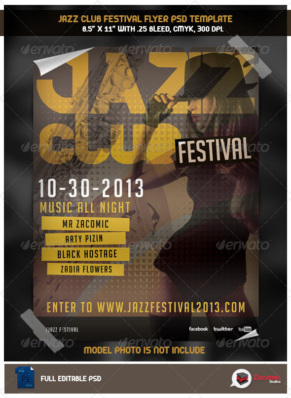 GraphicRiver Jazz Club Flyer Template 5496301