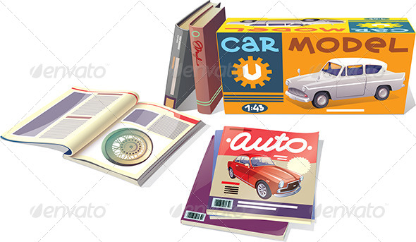 GraphicRiver Magazines Books and the Car Model 5496350