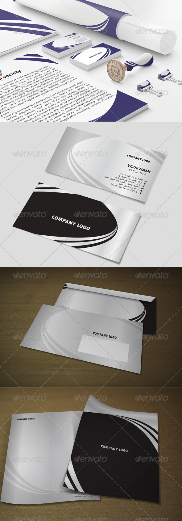 Black & sliver 3line Stationary Templates - Stationery Print Templates
