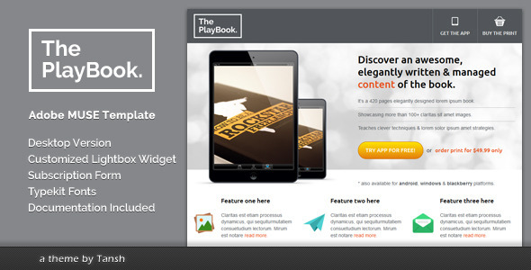 ThemeForest The PlayBook Muse Landing Page Template 5479512