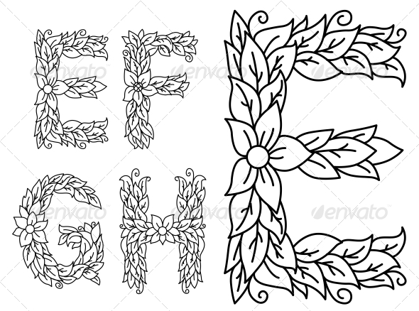 GraphicRiver Floral Capital Letters E F G and H 5497905