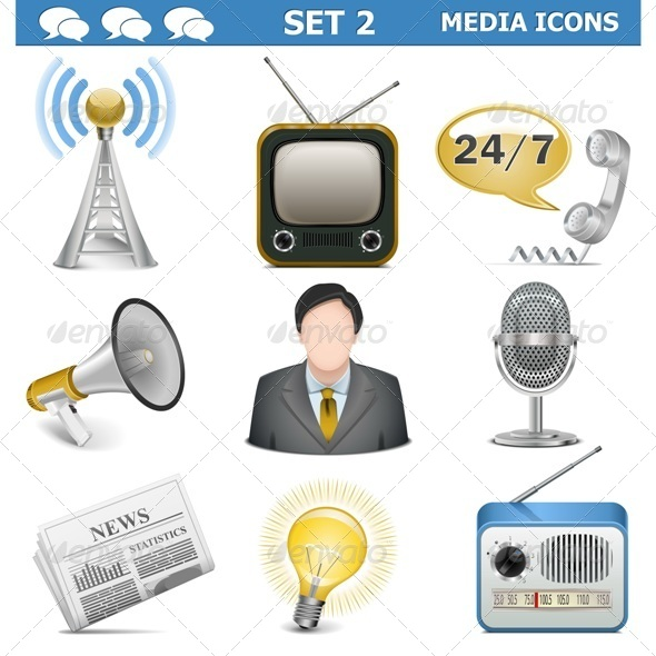 GraphicRiver Vector Media Icons Set 5498199