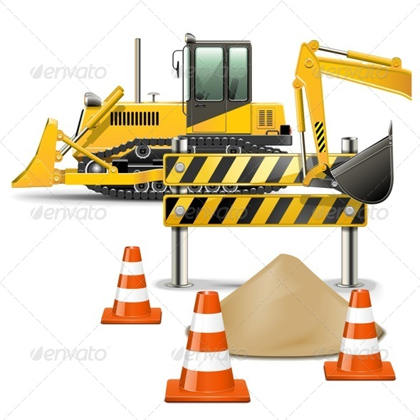 GraphicRiver Vector Construction Machines with Barrier 5498267