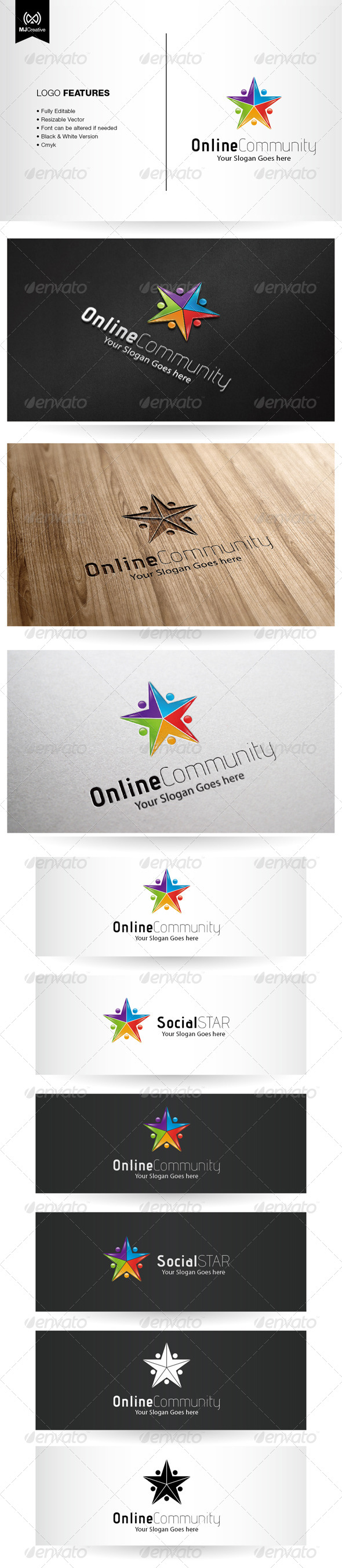 GraphicRiver Colorful Star and Social Network Logo 5498478